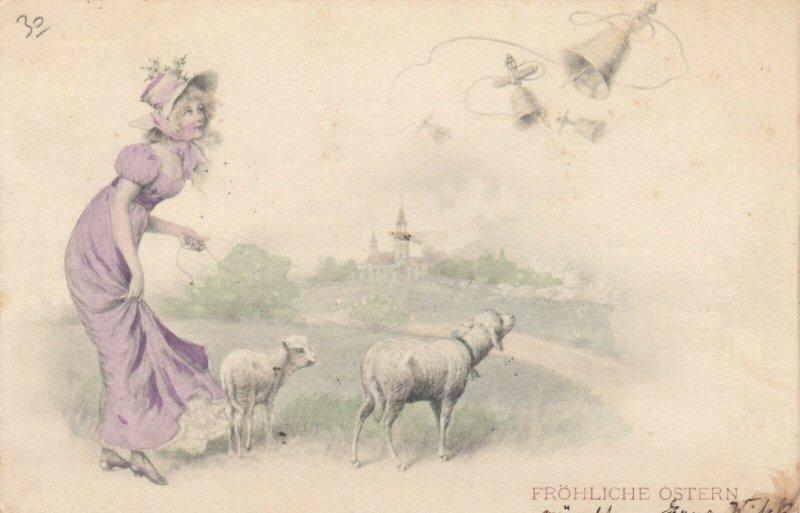 AS; M.M. VIENNE; Woman in purple dress walking sheep, PU-1901