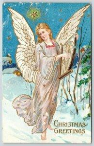 Christmas~Angel in Pink Walks in Snow~Strums Harp~Blue Star Sky~Gold Leaf Emboss