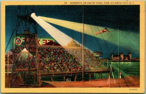 1940s Atlantic City New Jersey Postcard Acrobats at End of Steel Pier Linen