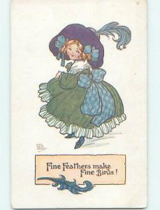 Pre-Linen signed FASHION - PRETTY GIRL WITH BIG FEATHER IN HER HAT J4946