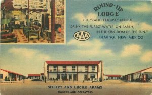 Deming New Mexico 1949 Round Up Lodge Postcard roadside linen 8985