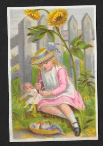 VICTORIAN TRADE CARD Stock Card Girl, Doll & Sunflower at Fence