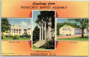 1940s North Carolina Postcard Greetings from RIDGECREST BAPTIST ASSEMBLY Linen