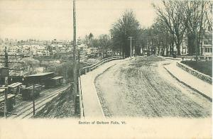 Bellows Falls, Vermont View of Town, Train Yard Old Photo Postcard
