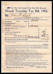 1903 Howell Township, New Jersey Billhead, Tax Bill A1