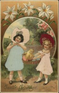 Easter - Cute Little Girls Chick Eggs REAL SILK c1910 Postcard
