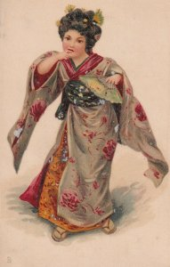Young Japanese Geisha Girl wearing Kimono, 1900-10s; TUCK 1605
