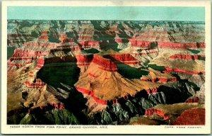GRAND CANYON Arizona Postcard North from PIMA POINT Fred Harvey #79526 Unused