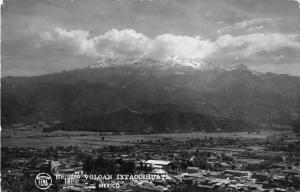 Ixtaccihuatl Volcano Mexico scenic view also showing town real photo pc Z18503
