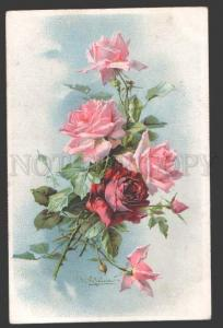 113552 Red & Pink ROSES Bouquet by KLEIN vintage Colorful PC