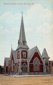 Sunbury Pennsylvania~Zion's Lutheran Church~1910 Postcard