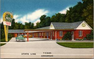 Texarkana Texas~Shamrock Motel~Roadside on State Line~1950 Cars~Linen Postcard