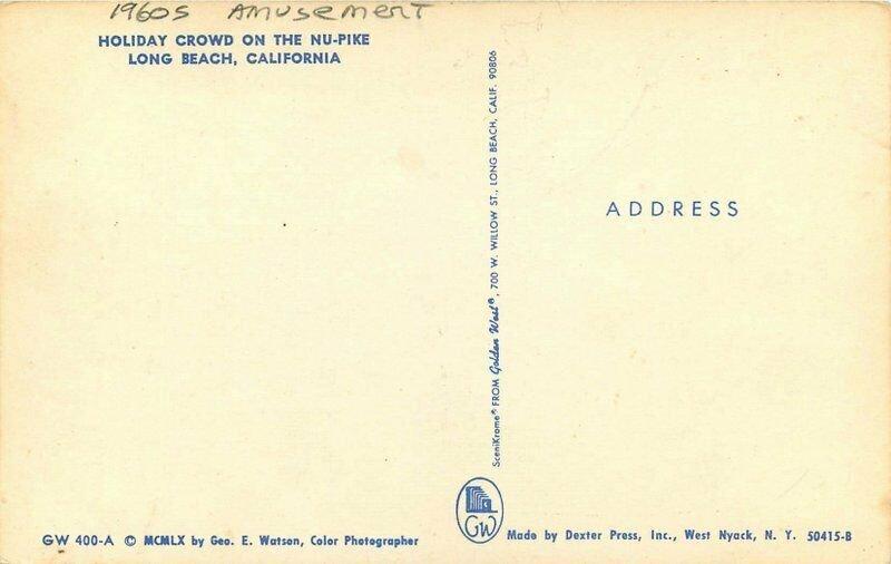 Golden West Holiday Crowd Nu Pike Long Beach California 1960s Postcard 20-12398