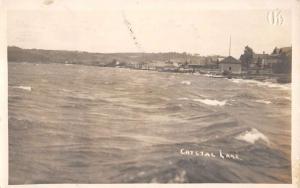 Crystal Lake Illinois? Water Waves Coast Real Photo Antique Postcard K17520
