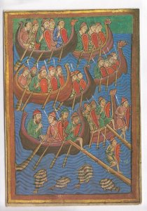 The Viking Invasion of East Anglia, from a Twelfth Century Manuscript, Postcard