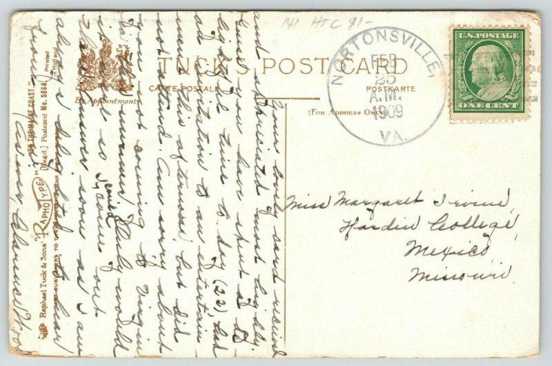 Delano Park Maine~Rocky Boulder Shore~Rain Island Light in Distance~1909 TUCK