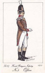 French Portuguese Infantry Army Officer Napoleonic War Soldier Military Postcard
