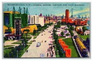 Vintage 1930's Postcard Transportation Row General Motors Chrysler Nash Bldgs