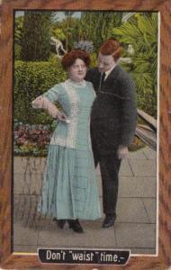 Romantic Couple In Garden Don't Waist Time 1910