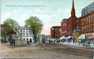 New Britain Connecticut Postcard 1910 Main Street View Looking North Trolley MS
