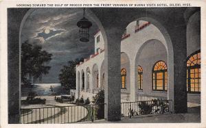 Buena Vista Hotel Front Veranda Night Biloxi Mississippi 1932 postcard