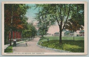 Fort Thomas Kentucky~Barracks & Drilling Grounds~Vintage Postcard