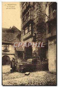 Old Postcard Riquewihr The Dolder near Fountain