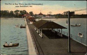 Pier at Bay Shore Near Baltimore MD c1910 Postcard