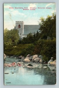 White Mountains NH, River, Episcopal Church, Vintage New Hampshire Postcard