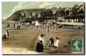 Old Postcard Arromanches The Beach A Maree Basse