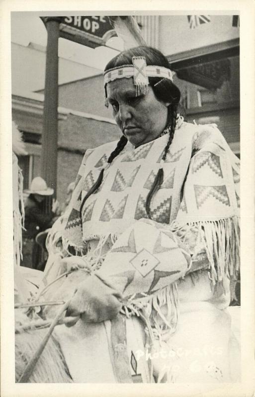 canada, Native Indian Squaw on Horseback (1940s) Photo Crafts RPPC