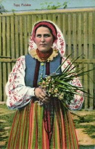 poland, Typy Polskie, Woman with Flowers in Traditional Costumes (1917) Postcard