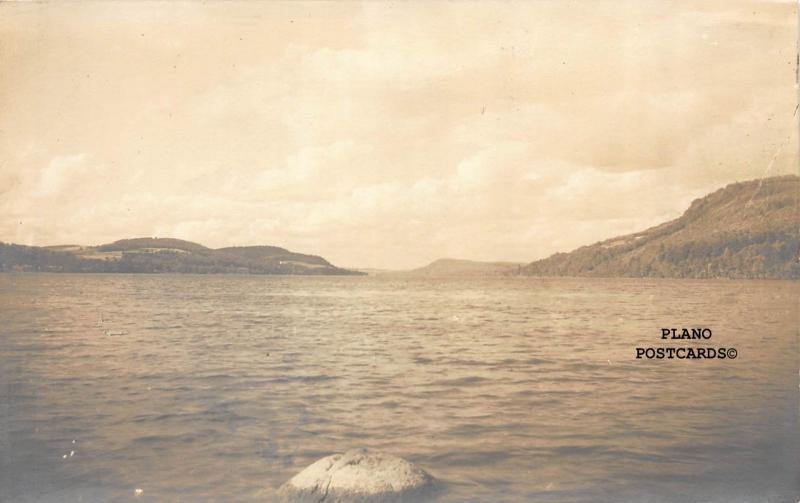 COOPERSTOWN, NEW YORK LAKE RPPC REAL PHOTO POSTCARD