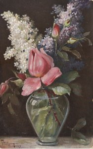 AS: MARY GOLAY, 1900-10s; Still Life, Vase with budded Roses & other flowers