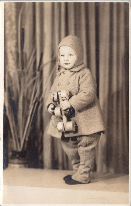 Studio Portrait of Child with Toy Jacket Unused Real Photo Postcard D70