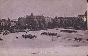 Lille France French Army  Military Procession Antique 14th July Postcard