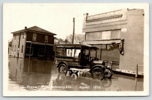 New Athens IL Pay Less @ Geiger's~Company Car~Home & House Flooded~RPPC 1922