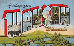 B10/ Wausau Wisconsin Wi Postcard Linen Large Letter Greeting 1948