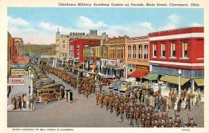 Claremore Oklahoma Main Street Cadets On Parade Antique Postcard K13803