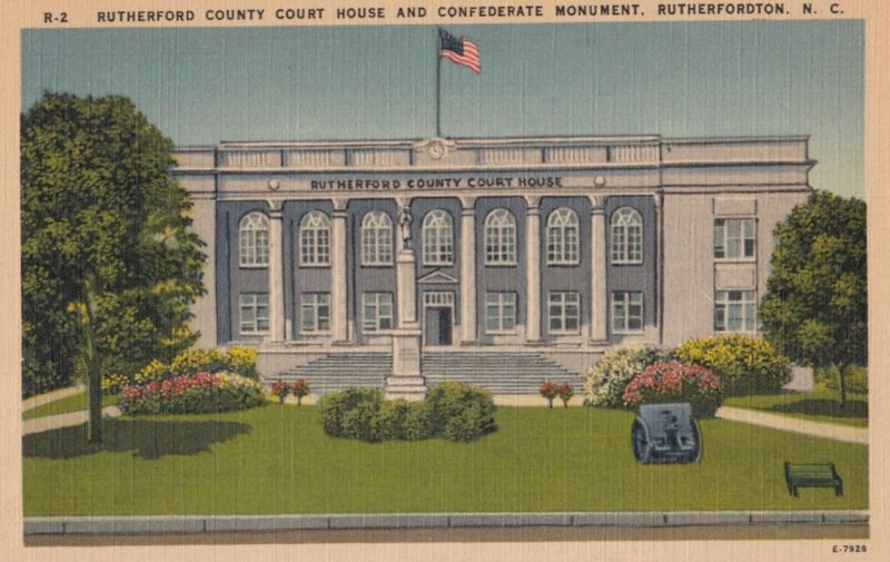 RUTHERFORD , North Carolina , 1930-40s ; Court House & Confederate Monument