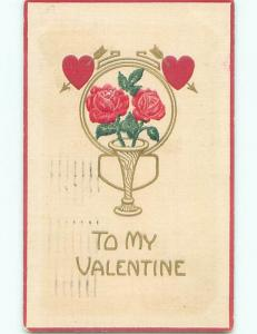 Pre-Linen valentine HEARTS OVER PINK ROSE FLOWERS IN ANTIQUE VASE J0211