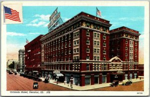 Decatur, Illinois Postcard ORLANDO HOTEL Street View / U.S. Flag Curteich 1942