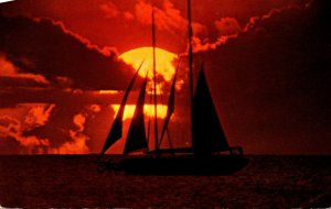 Hawaii Beautiful Sunset With Sailboat Passing By 1979