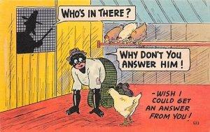 Who's in There Man in Chicken Coop Cartoon Blacks Unused