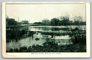 Rockland Massachusetts~Dam at Reed's Pond~Houses Line Banks~c1910 B&W Postcard
