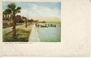 St. Augustine Florida FL ~ Sea Wall Vintage Postcard