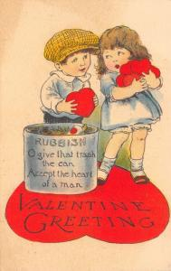 Valentine Rubbish!~Girl With Hearts~Boy With One~Give That Trash the Can~1913 PC