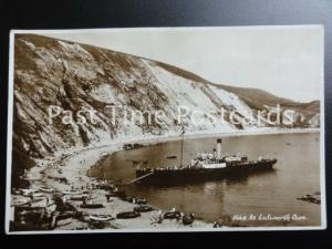 Dorset LULWORTH COVE Showing Passenger Ferry Moored at Beach - Old RP Postcard