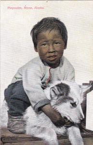 Playmates , Nome , Alaska , 00-10s ; Eskimo Boy & Dog