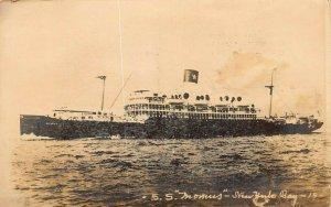 SOUTHERN PACIFIC STEAMSHIP~S S MOMUS-N YORK BAY~1920 GEVAERT REAL PHOTO POSTCARD